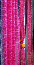 "SALE - Fuchsia PINK & Blue Full Indian Sari, Sheer Window Canopy Scarf 190"""