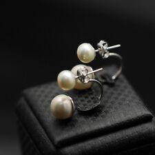 Boucles d'Oreilles Clous Double Perle Culture Blanc Argent Massive 925 Mariage