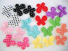 "100 Padded Small Basic 1"" Satin Butterfly Applique/Trim/Bow/Cute H97-Polka Dots"