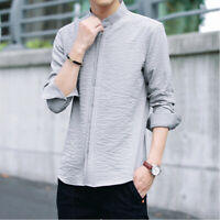 Men's Thin Long Sleeve Stand Collar Casual Shirts Slim Fit Tops Blouse T-shirt
