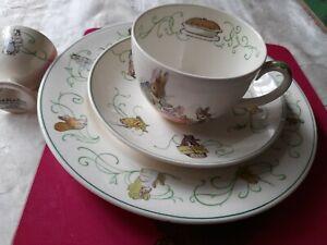 Wedgwood Barlaston Vintage Peter Rabbit Beatrix Potter cup plate saucer egg cup