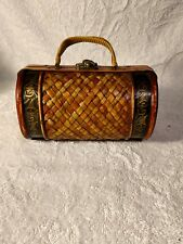 Vintage Round Small Wooden Handcrafted Purse