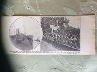 a2a ephemera 1918 ww1 picture british sailors p o ws arrive hull ships