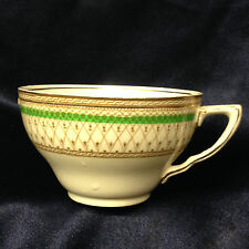 MEAKIN J&G SOL WESTMINSTER GREEN BAND FLAT CUP 8 OZ BROWN & GOLD DESIGN ENGLAND