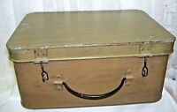 Antique Primitive Large Hinged Metal Box Army Green
