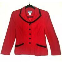 Pendleton Womens Blazer Virgin Wool 6P Red Jacket Black Trim *USA* Petite Career