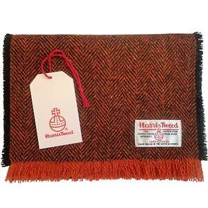 Harris Tweed Black & Orange Herringbone Pure Wool Luxury Unisex Fringed Scarf