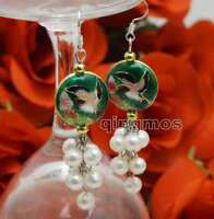 6-7mm White Round Natural Pearl & 18mm Dark Green Cloisonne Earring for Women