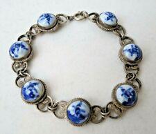 Delft Sterling Silver Filigree Bracelet Vintage Holland Blue Windmill Porcelain