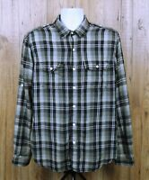 VINTAGE MENS ALL-SON BRAND SHIRT SIZE L GREY CHECK COTTON WORK LONG SLEEVE TOP