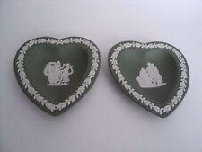 2 Vintage Wedgwood Green Jasperware 3 Muses Pin Dish Tray Heart shape England