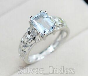 925 Sterling Silver Aquamarine Natural Octagon Gemstone Wedding Ring For Women
