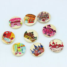 30PC 2 Holes Mixed Castle pattern Wooden Buttons Fit Sewing and Scrapbook 20mm