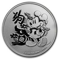 2018  Silver 1 oz. Disney Lunar Year of the Dog Niue $2 BU