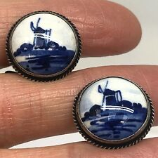 Delft Dutch Windmill Cufflinks Porcelain Vtg Sterling Silver 8g Old Blue White