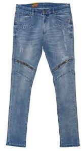 Mens Chisel Jeans RJC  Biker Style Washed Denim Slim Leg Jeans  - CJ-2902SL Sale