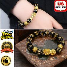 Men Women Feng Shui Black Obsidian Alloy Wealth Bracelet Quality Jewelry US