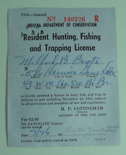 1952 Gary Indiana Conservation Resident Hunting Fishing Trapping License