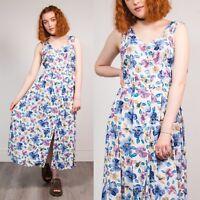 90'S WHITE & PURPLE WOMENS FLORAL PATTERN VINTAGE MAXI DRESS BUTTON DOWN 8