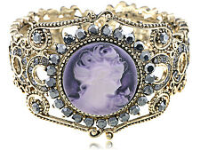 Vintage Lavender Cameo Lady Pretty Gray Crystal Rhinestone Cuff Bracelet Bangle