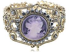 Vintage Lavender Cameo Lady Pretty Gray Crystal Rhinestone Cuff Bracelet Bangle