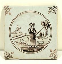 Antique Delft Tile Manganese Decoration Shepardess