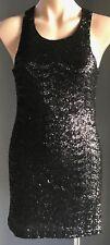 Pre-owned Black MINKPINK Sequin Sleeveless Stretch Mini Dress Size XS/8