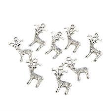 deer reindeer Tibetan Silver beads 3D charm fit bracelet 10pcs 23*13mm