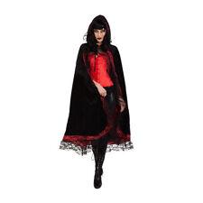 Umhang mit Kapuze, schwarz-rot mit Spitze Kapuzenumhang Vampir Hexe
