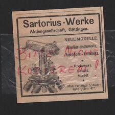 GÖTTINGEN, Werbung 1922, Sartorius-Werke AG Nivellier-Instrumente