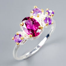 Handmade Natural Rhodolite 925 Sterling Silver Ring Size 6.75/R120639