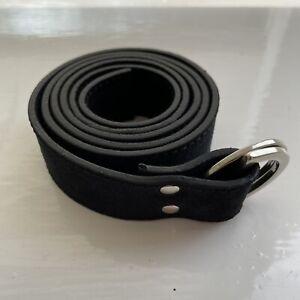 Folk Black Suede D Ring Belt 2/S 30W