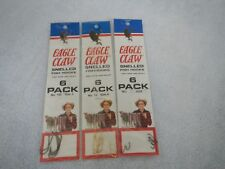 EAGLE CLAW - 3 PACKAGES OF SNELLED FISH HOOKS (TOTAL 18)  -  SIZES:  2 - 6 - 10
