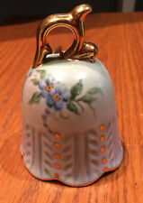 Vtg hand painted porcelain bell, painted blue forget me not flowers, gold trim