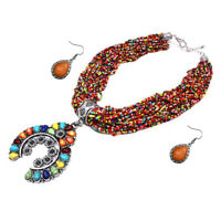 SQUASH BLOSSOM SOUTHWEST INDIAN TRIBAL NECKLACE SET seed bead TURQUOISE WESTERN
