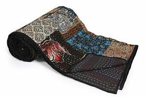 Indian Handmade Silk Patola Patchwork Kantha Quilt Traditional Silk Twin Size