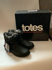 New Black Totes Double Zip Boots W/ Faux Fur Lining Eileen-Winter Womens Apparel
