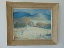 VINTAGE LANDSCAPE OIL PAINTING by J.D. WHITING - WINTER SCENE