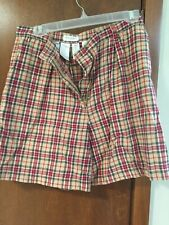 Vintage Jones New York Sport Women Sz 8 Red Plaid Linen Pleated Front Zip Shorts