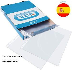 Fundas Plástico Folio (A4) Elba. 100 Unidades Multitaladro Protector Folios
