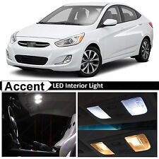 6x White Interior LED Lights Package Kit for 2011 - 2015 Accent