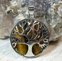 "Tree of Life Golden Tiger's Eye  Pendant 18"" Necklace Protection Balance 24639E"