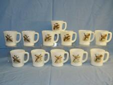 12 Vintage Fire-King D Handle Coffee Mugs Game Hunting Birds