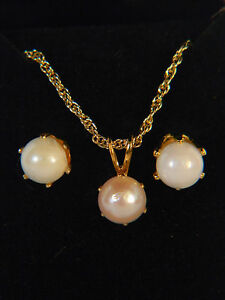 PEARL GOLDTONE  NECKLACE & EARRINGS GIFTSET