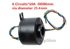 Slip Ring Through Hole Dia.25.4mm   6 Circuit/10A  for Wind Power Generator
