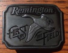 "Vintage Pewter Belt Buckle REMINGTON Shotgun ""First in the Field"" Canada Goose"