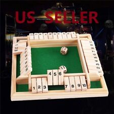 US SHIP Deluxe Four Sided 10 Number Shut the Box Board Game Wooden Toy