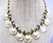 Mother of Pearl Dangling Layered Disk Bead Necklace Rhinestone Rondelle 317