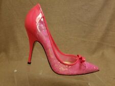 New Kate Spade New York Women Pink Textured Floral Bow Stiletto High Heels Sz 7B