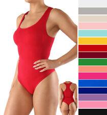 Women's Basic Seamless Sleeveless Tank Thong Bodysuit Solid Stretch Scoop Neck